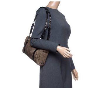 Prada quilted nylon leather chain khaki bag
